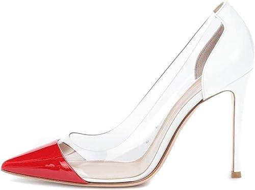 ZerenQ Escarpins Sexy pour Femmes Deux Tons Stiletto Véritable Cuir Verni Slip sur Sandales à Talons Côtés Transparents Bout Pointu Durable (Couleur   rouge+blanc, Taille   40 EU)