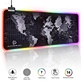 RGB Gaming Mouse Pad - Large Led Mouse Mat, 2020 updated HD Map with Smoothly Waterproof Surface, Non-Slip Rubber Base, 31.5'X 11.8' & 14 Light Modes