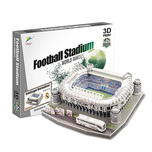 YGXS Rompecabezas 3D del Estadio - Rompecabezas De Bricolaje para Adultos/Niños, Modelo De Campo De Fútbol 3D De Rompecabezas Aplicable Al Estadio Santiago Bernabéu (34.5 * 34.5 * 9.5CM 160 Partes)