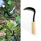 BEMAL Falcetto con manico in legno, strumento agricolo in legno con manico in legno e manico a serpente, per esterni, giardini e cortili per la caccia e la coltura (A)