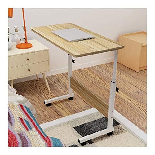 QWERTY Höhenverstellbar Laptoptisch Computertisch, PC Tisch Sofatisch Pflegetisch Beistelltisch Mit Rollen Home Bedside Laptop Overbed Tisch (Color : Oak, Size : 60x40cm)