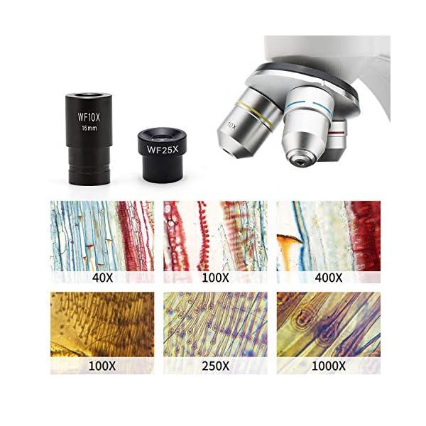 SWIFT 40x-1000x Compound Microscope with Camera,WF10X/25X Eyepiece,LED Illumination, Metal Body