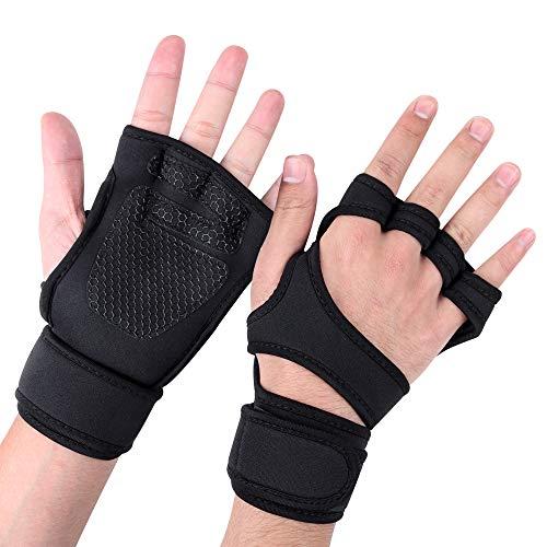 Siłownia ćwiczenia trening fitness rękawiczki z podparciem nadgarstka, pełna ochrona dłoni i dodatkowa przyczepność oddychające antypoślizgowe, trening krzyżowy rękawice do podnoszenia ciężarów (L)
