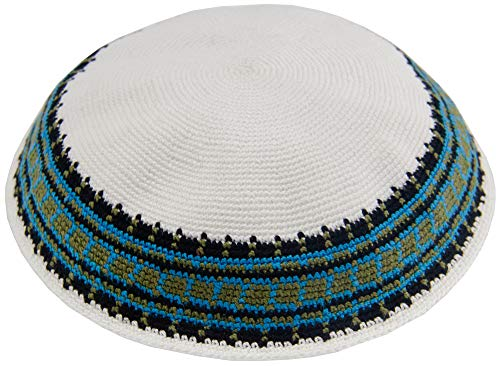 HolYudaica Hand Made Mix Colors 100% Cotton Large Size -22cm- DMC Hand Knitted Kippah Hat from Israel, Hats for Men, Yarmulke Hat, Kippah for Men (White Green)