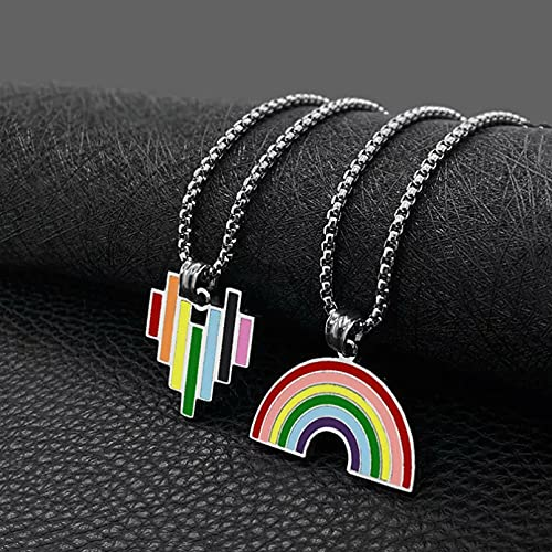 RTEAQ Schönes Halsketten SchmuckMulticolor Rainbow Halsketten Anhänger Edelstahl Schmuckkette Geburtstag Party Geschenk