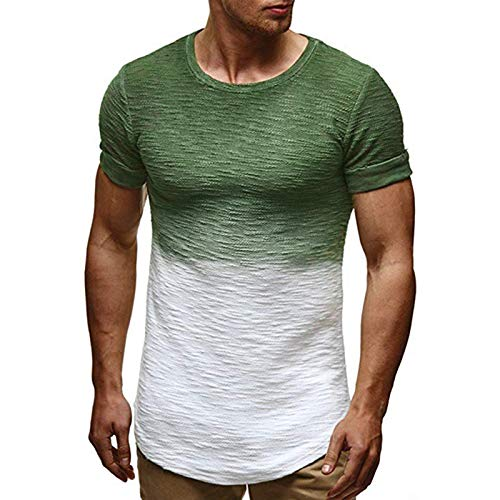 SSBZYES Camiseta para Hombre Camiseta De Manga Corta para Hombre Código Europeo Comercio Exterior Cuello Redondo Costura Suéter Degradado Camiseta De Manga Corta Camiseta Casual para Hombre