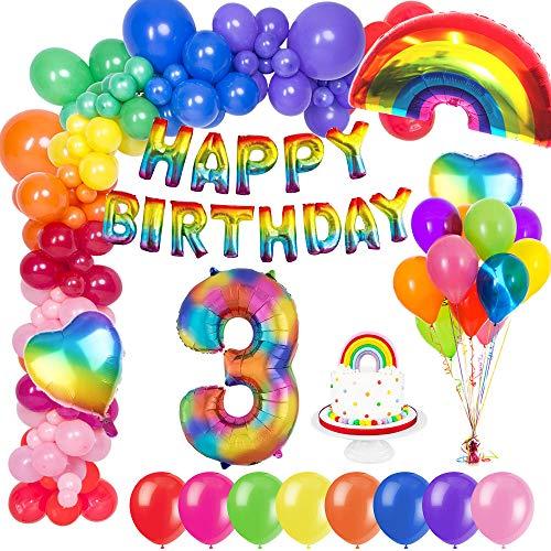 MMTX 3. Geburtstag Dekorationen, Geburtstag Party Deko geburtstagsdeko mit Happy Birthday Ballons Banner, Zahlen Luftballons, Regenbogen Herz Folienballons und Kuchendeckel für Kinder Mädchen Jungen