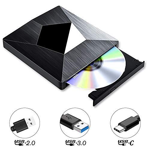 PiAEK Masterizzatore CD Dvd Esterno USB 3.0, Type C Portatile unità Dvd CD Drive Lettore Dvd-R CD-RW Dispositivo di Schede per Windows10/7/8,Laptop,MacBook Air/PRO,Desktop,PC - Nero