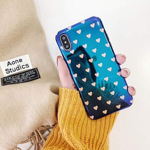 SJKTAO Custodia per Cellulare Custodia per Telefono Blu-Ray Liscia per iPhone 6 6S 7 8 Plus Custodie Moda Retro Amore Cuore Coppia Cover per iPhone X