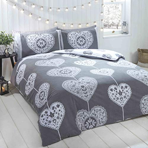 Rapport Hearts Christmas Scandi Duvet Cover Set, 100% brushed cotton, Grey, Double