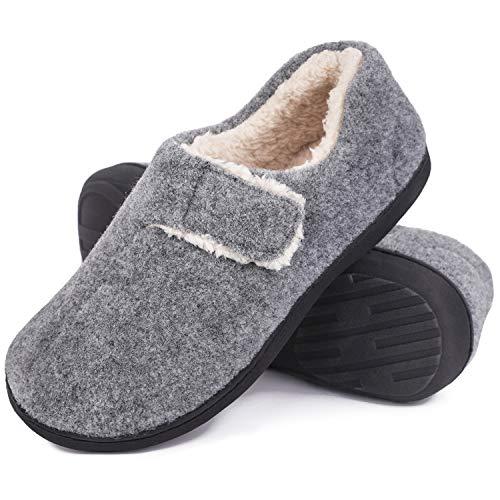 VeraCosy Damen Herren Fuzzy Wool Like Memory Foam Slippers Geschlossene Fleece Hausschuhe mit verstellbarem Klettverschluss, Hellgrau, 3839 EU