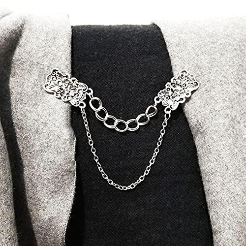 hcma Suéter de Mujer Clips de Chal Vestidos de Rebeca Broche Flores Collar Alfileres Cadena de Regalo