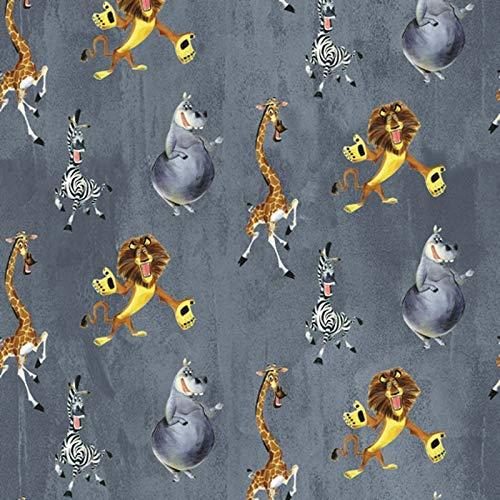 Hans-Textil-Shop Tela por metro Madagascar con diseño de animales, 1 metro, sin sustancias nocivas, decoración, ropa, para niños, color gris