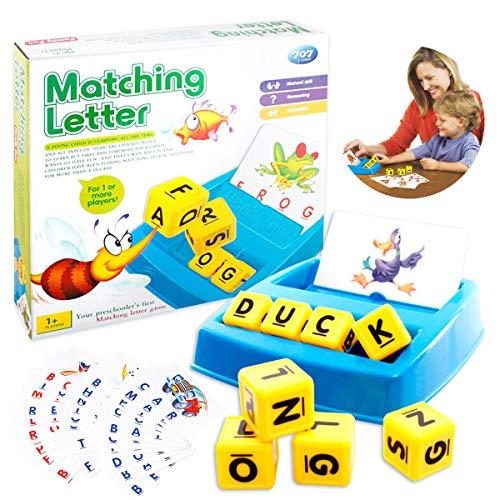 OMG Inc Alphabet Matching Spiel, Kinder Alphabet Spiel und Buchstabieren Brettspiele Kinderspiel, Buchstaben Wort Übereinstimmung und Zauber Brettspiele für Vorschule ABC Lernen