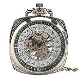 LYMUP Reloj de Bolsillo, Elegante Grabado Mano Viento Mecánico...