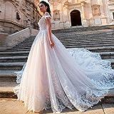WANGMEILING Vestido de novia blanco Corte de encaje glamoroso Apliques de tren Una línea de vestidos de boda de lujo Tamaño del cuello del barco con cuentas vestido de novia de la princesa Plus