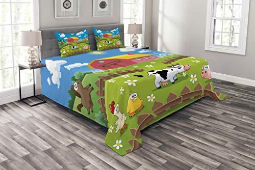 Lunarable Colcha Cartoon Granja con Cow Fox Pollo Pig Caballo en Las Vallas Countryside Rurales Niños Diseño Decorativo Colcha Set con Fundas de Almohada