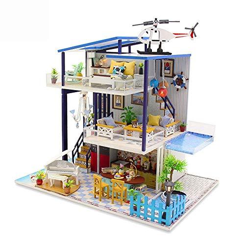 LHQ-HQ de Juegos for niños Tienda de Bricolaje Miniatura de Habitaciones Set-Woodcraft Construction Kit-Madera Modelo Juego de construcción Mini-House Craft Juguetes for niñas/niños niños (Color: Mu