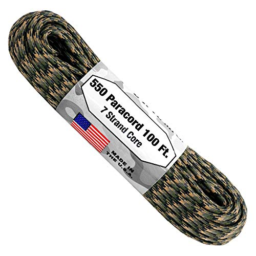Atwood Rope 550-Pound Type III 7 Strand Core Paracord, 1/8-Inch x 100-Feet, Black