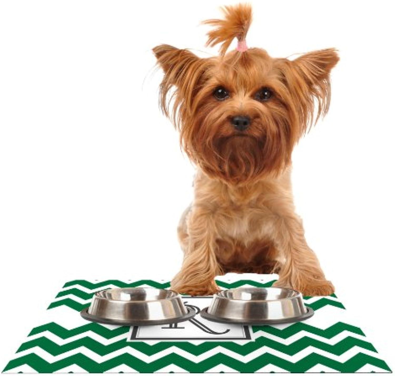 KESS InHouse Kess Original Monogram Chevron Green Letter R  Feeding Mat for Pet Bowl, 18 by 13Inch