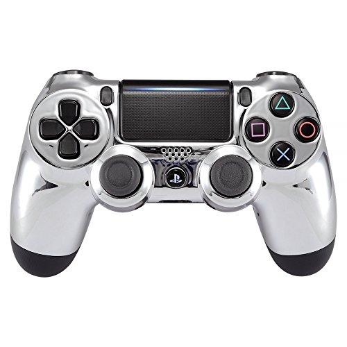 eXtremeRate Frontgehäuse für Playstation 4 PS4 Slim PS4 Pro Controller (CUH-ZCT2 JDM-040 JDM-050 JDM-055), Chrom / silberfarben
