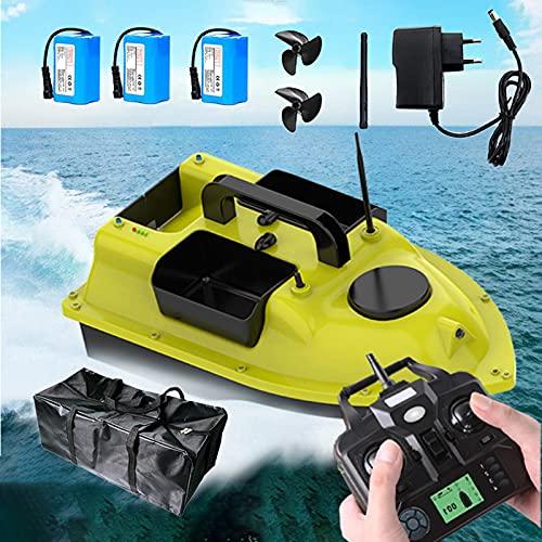 FGHFD Barco Cebador Carpfishing, Barco de Cebo de Pesca 500m con GPS, Barco de Pesca Teledirigido Utilizado en Estanques de Peces, Lagos, Motor Doble