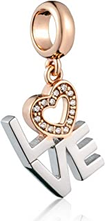 Love Bracelet Charms - 925 Sterling Silver Pendants, Heart Dangle Beads Plated Crystals Fits Bracelets, Necklaces, and European Snake Chains - Anniversary and Valentine Gifts for Wife.