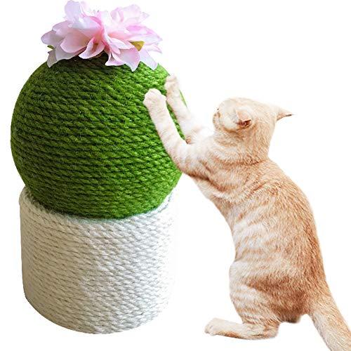 Umora猫爪とぎ サボテン形 可愛い 猫のおもちゃ 爪磨き サイザル麻 置物 ストレス解消 運動不足解消 安全 家具保護(ラウンド)