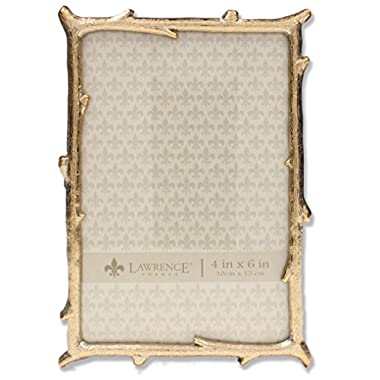 Lawrence Frames 4x6 Gold Metal Picture Frame with Natural Branch Design