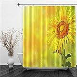 AIMILUX Duschvorhang 180x180cm,Leuchtend gelbe Sonnenblume & Sonne,Duschvorhang Wasserabweisend-Duschvorhangringen 12 Shower Curtain mit