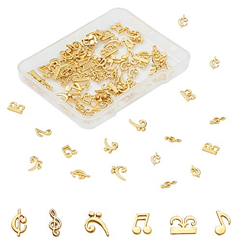 OLYCRAFT 90pcs Music Notes Resin Fillers 6-Style Musical Note Filling Charms Alloy Epoxy Resin Accessories for Resin Crafting and Jewelry Making - Golden