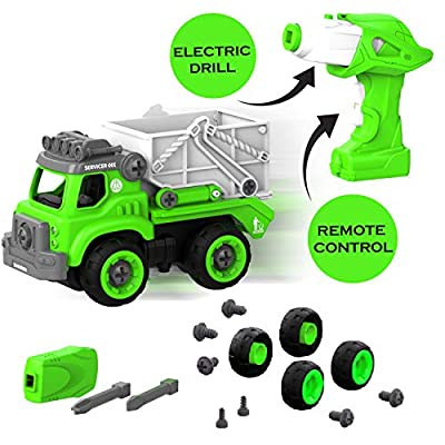 Edushape Remote Control Take Apart, Garbage Sanitation Truck, Assemble, Take Apart, Rebuild, And Drive Use The Powered Drill For All 27 Toy Parts - Includes Lights, Sound & Toy Drill DIY Fun - STEM Le from Edushape