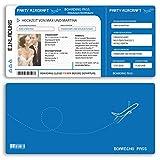 (10 x) Hochzeitseinladungskarten Flugticket Boarding Pass blau Einladungskarten Hochzeit