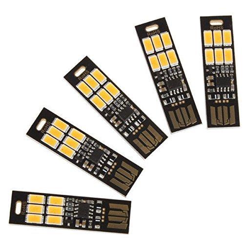 Linterna de bolsillo ultrafina, 6 LED, USB, con llavero, táctil, luz blanca fría X5