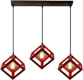 STOEX Modern Lámpara de Techo Colgante Industrial Vintage Un Conjunto de 3 Cubos Lámpara Colgante Retro Metal Araña, Rojo