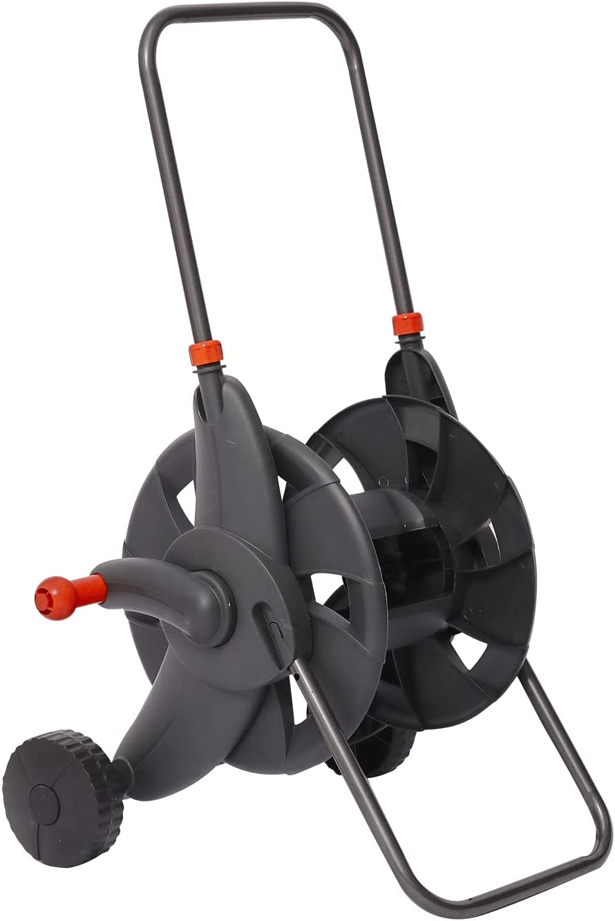 VisHomeYard Garden Hose Reel Cart with 2 Wheels and Handle Portable Water Hoses Retractable Carts Metal Retractable Handle Holds 200 Feet of 1/2-Inch Hose for Yard, Lawn, Farm,Patio