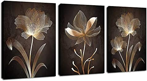 Abstract Wall Art Brown Flowers Canvas Pictures Contemporary Minimalism Abstract Flower Artwork product image