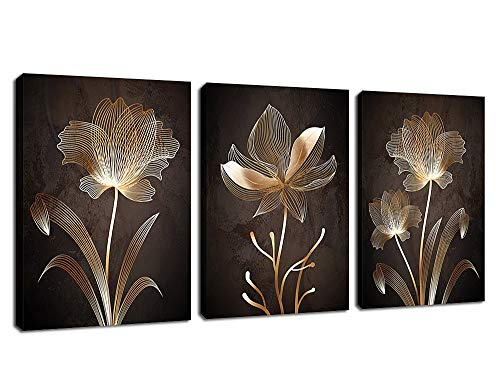 Abstract Wall Art Brown Flowers Canvas Pictures Contemporary Minimalism Abstract Flower Artwork for Bedroom Bathroom Living Room Wall Decor 12  x 16  x 3 Pieces