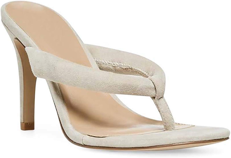 Frauen Frauen Sommer Clip Toe hochhackige Hausschuhe, Stiletto High Heel Slip On Sandalen Flip Flops Schuhe,Apricot,35  Das neueste Marken-Outlet online