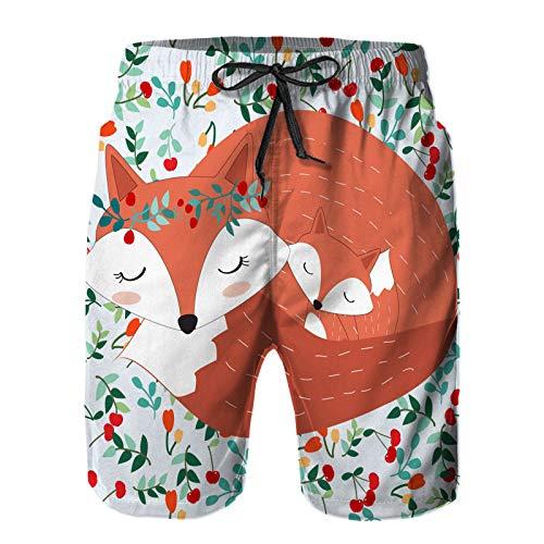 Hombres Verano Secado rápido Pantalones Cortos Playa Vintage Linda Adorable Madre Zorro Hijo Trajes de baño Correr Surf Deportes-S