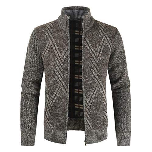 Men's Knit Sweater Long Sleeve New Turtleneck Full Zip Jumper Autumn Ribbing Neck Patchwork Jumper Casual Stripe Jacket Warm Winter Comfy Knit Jacket Tops XL