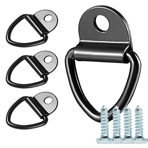 Tie Down Rings Heavy Duty, 4 Stks D Ring Tie Down Anker Lashing Ringen V Ringen Haak voor Boten Vans Vrachtwagens Kayak Pakhuizen met 4 Schroeven