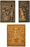 Design Toscano WU968075 Egyptian Temple Steles Tutankhamen, Isis and Horus Wall Sculpture Plaques, 10 Inch, Set of Three, Black and Gold