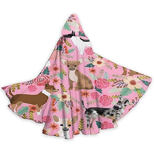 Costume da Abito da Mantello per Mantello di Halloween con Cavaliere di Halloween per Cani Carino Rosa Chihuahua Natale, 59 Pollici (150,40 cm)