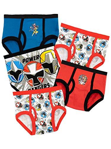 Power Rangers 100% Baumwolle Slips mit elastischem Bund für zusätzlichen Komfort 5er Pack für Jungen 4-5 Jahre Mehrfarbig