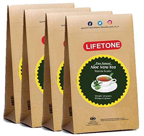 Bio Cleanse Kräutertee mit 100% reinem Aloe Vera und BOP Black Tea (4er Pack, 80 Teebeutel) | Aloe Vera Abführmittel Tee