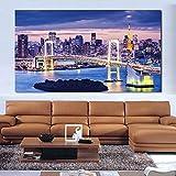 Lona Rascacielos puente de la bahía de iluminación cuadros de la pared for sala de estar lona de arte de la decoración del hogar moderno Sin la pintura al óleo (Size (Inch) : 24X40inch)
