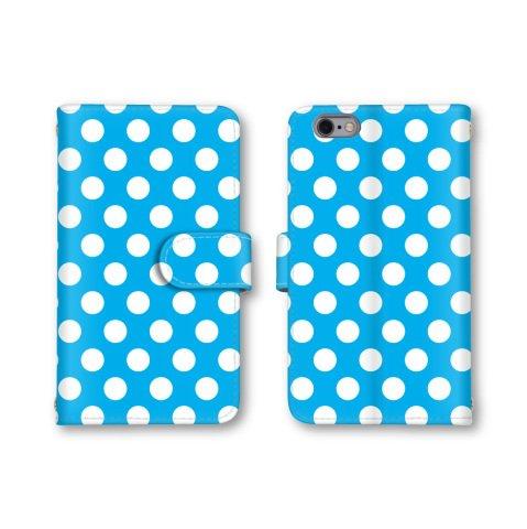 【ノーブランド品】 HTC J butterfly HTL23 スマホケース 手帳型 ドット柄 コインドット 水玉模様 ブルー 青色 かわいい おしゃれ 携帯カバー HTL23 ケース 携帯ケース