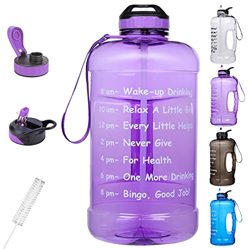 KUSTAR Gallon Water Bottle with Straw and Chug Lid, 3.78L Large Water Jug...