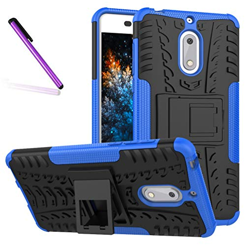 Nokia 6 Case, Tyre Pattern Design Heavy Duty Tough Armor Extreme Protection Case with Kickstand Shock Absorbing Detachable 2 in 1 Case Cover for Nokia 6 2017 (5.5'). Hyun Blue